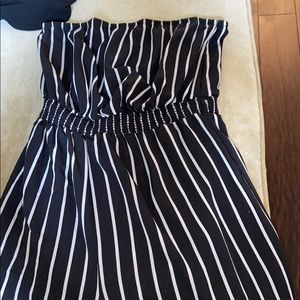 Striped strapless romper, worn once